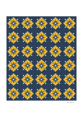 Yellow Flowers on Blue background patterns for nature lovers