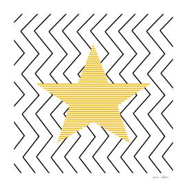 Star - geometric pattern - black and white.