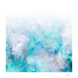 Fresh Blue and Aqua Ombre Frozen Marble