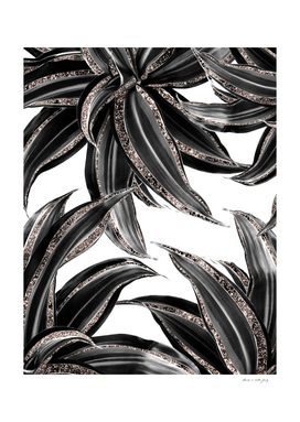 Tropical Leaves with Rose Gold Glitter #1 #shiny #tropical