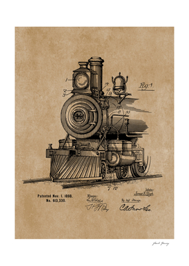Vintage Steam Engine Locomotive 1898 Patent Blueprint