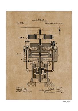 Tesla Electric Generator Vintage Patent Blueprint
