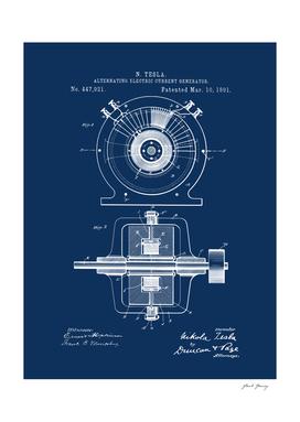 Vintage Tesla Generator Patent Print