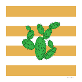 Cactus -  strips - bronze and white.