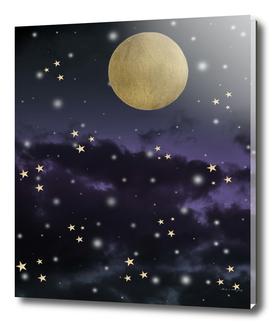 Cloudy Purple Midnight Blue Starry Night Sky #1 #decor #art