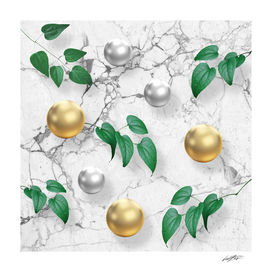 marble, gold spheres and foliage