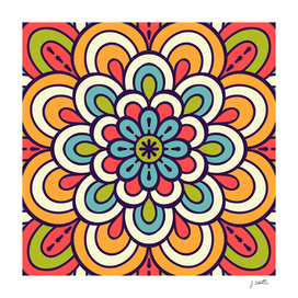 Mandala, Colorful Abstract Flower