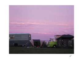 Camping under a lilac sky