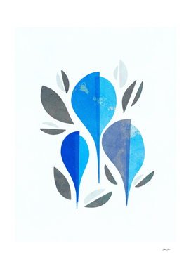 Minimal Organic Blue Leaf Trio - Winter