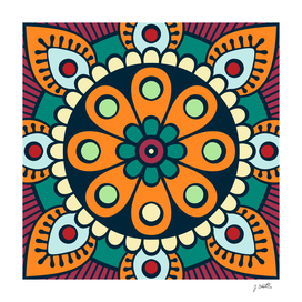 Mandala artwork, Colorful mandala flower No3