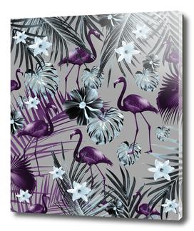 Tropical Flamingo Flower Jungle #7 #tropical #decor #art