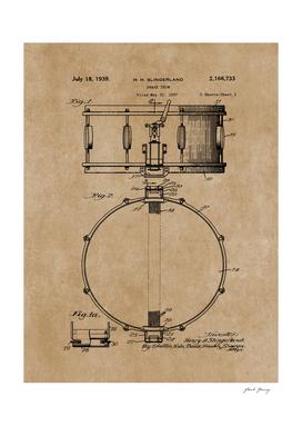 Vintage Snare Drum Patent Print 1939