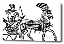 Line art drawing ancient chariot
