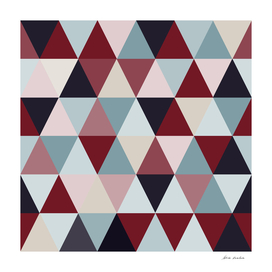Dark Blue Red and Beige Triangles