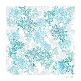 Turquoise and grey layered passionflower pattern