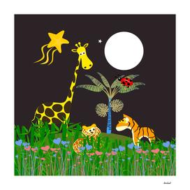 Giraffe, Tiger, Lion & White Moon