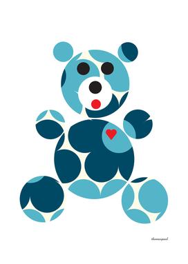 PATTERN BEAR DAISY BLUE