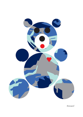 PATTERN BEAR CAMP BLUE