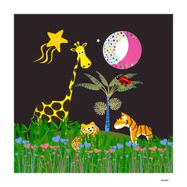 Giraffe, Tiger, Lion & Pink & White Moon