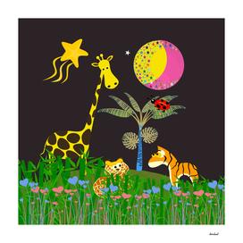 Giraffe, Tiger, Lion & Pink & Yellow Moon