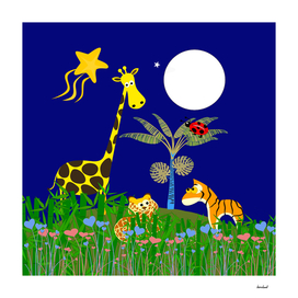 Giraffe, Tiger, Lion & White Moon on Blue Background