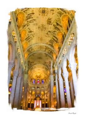 Columns Along Church Aisle in Oil