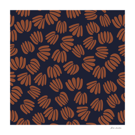 Navy and Rust abstract floral