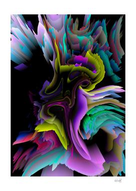 glitch 3d flower art