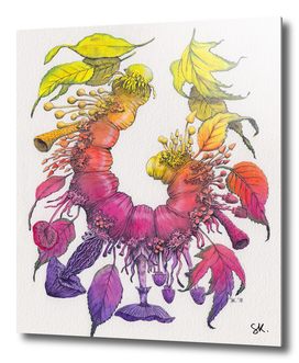 Caterpillar, Mushrooms & Leaves - Watercolor Illustration