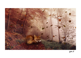 Red Fox Under Autumn Foliage by GEN Z