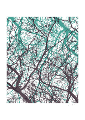 Abstract branches violet mint