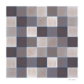Rust strokes on Blue Grey Checks
