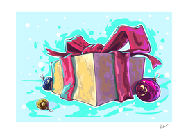 Gift with bow ribbon. Santa's surprice!
