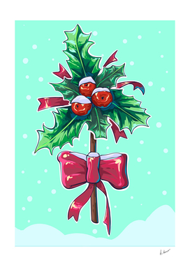 Holly berry vector comiс illustration.