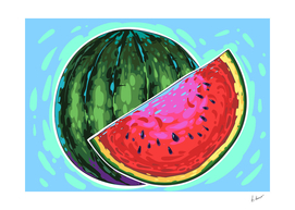 Watermelon comic vector art.