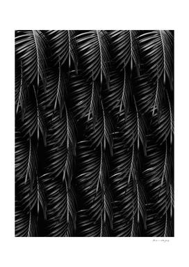Palm Leaves Pattern - Black Night #1 #tropical #decor #art