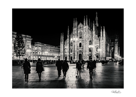 Black and White Duomo Piazza Night Scene, Milan City,