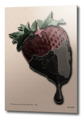 Strawberry with a Chocolate Drip-13x19