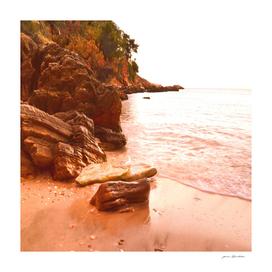 Retro rocky beach