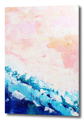Nautical aerial, abstract ocean, pink blue