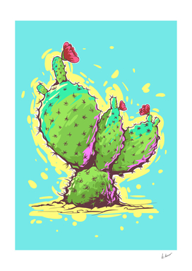 Cactus. Mexican flowers. comic