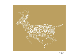 Golden Boho Running Deer