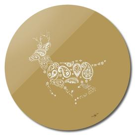 Golden Boho Running Deer