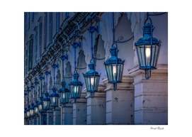 Blue Lamps on Columns at Night