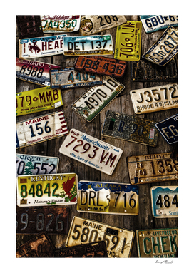 License Plates on Old Wall