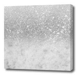 White Marble Silver Ombre Glitter Glam #1 #shiny #gem #decor