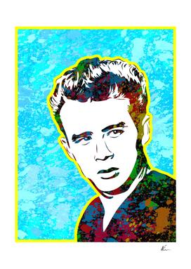 James Dean | Splatter Series | Pop Art | Blue