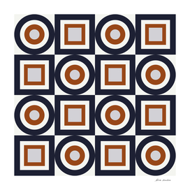 Circles and Squares I – Navy and Rust