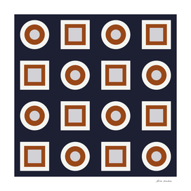 Circles and Squares II – Navy and Rust