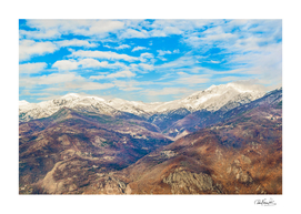Alpes Mountains Aerial View Piamonte District Italy